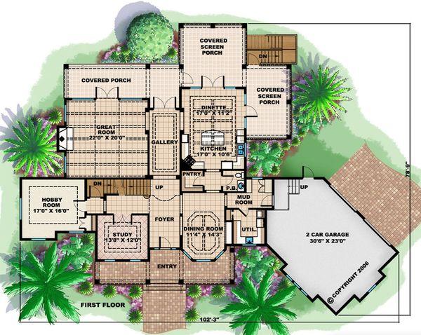 Country Floor Plan - Main Floor Plan Plan #27-531