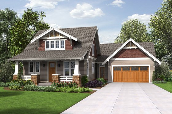 Cottage Exterior - Front Elevation Plan #48-704