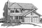 Traditional Style House Plan - 3 Beds 2 Baths 1357 Sq/Ft Plan #47-234 Exterior - Front Elevation