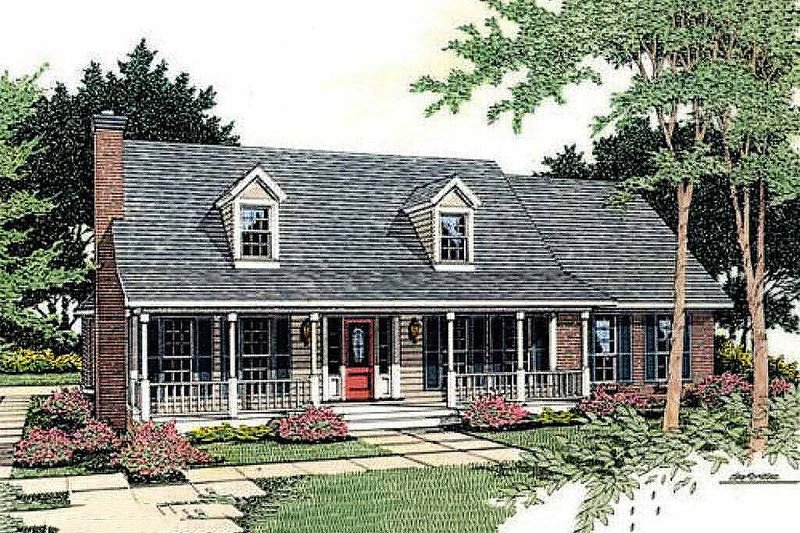 Architectural House Design - Country Exterior - Front Elevation Plan #406-157