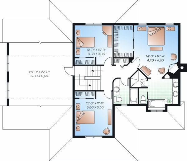 Traditional Floor Plan - Upper Floor Plan Plan #23-841