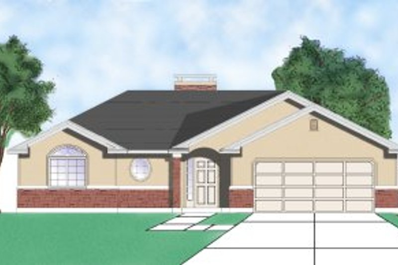 Ranch Style House Plan - 3 Beds 2 Baths 1227 Sq/Ft Plan #5-108