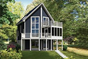 Cabin Exterior - Front Elevation Plan #25-4527