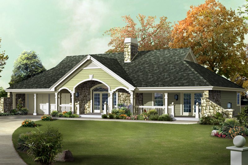 House Plan - 3 Beds 2 Baths 1510 Sq/Ft Plan #57-582 Exterior - Front Elevation