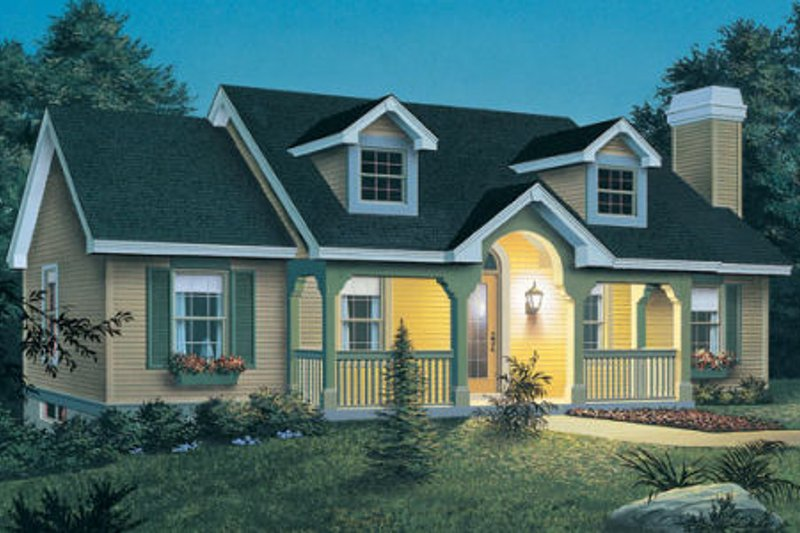 Cottage Style House Plan - 3 Beds 2 Baths 1140 Sq/Ft Plan #57-151