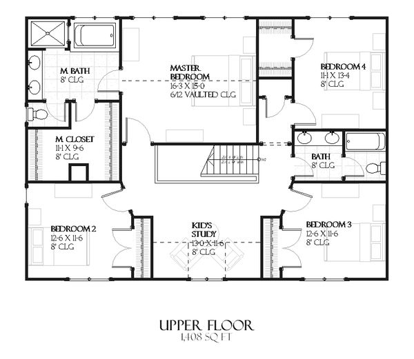 European Floor Plan - Upper Floor Plan Plan #901-79