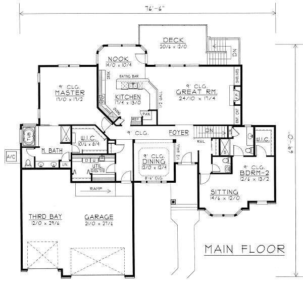 Ranch Floor Plan - Main Floor Plan #112-144