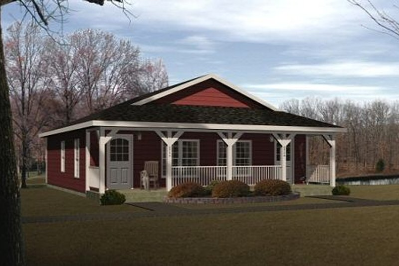 Country Style House Plan - 1 Beds 1 Baths 896 Sq/Ft Plan #22-130 Exterior - Front Elevation