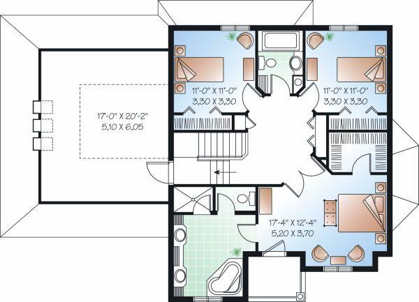 Traditional Floor Plan - Upper Floor Plan Plan #23-809