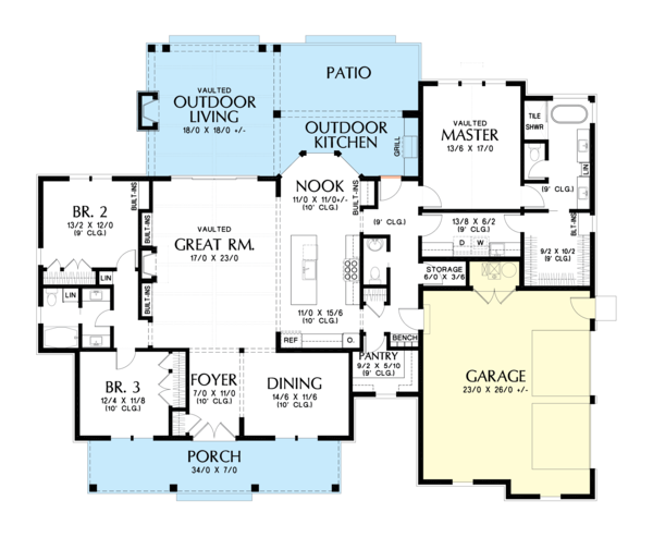 Farmhouse Floor Plan - Main Floor Plan #48-983