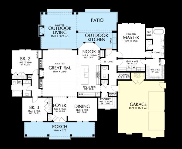 Home Plan - Farmhouse Floor Plan - Main Floor Plan #48-983