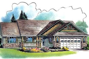 Ranch Exterior - Front Elevation Plan #18-329