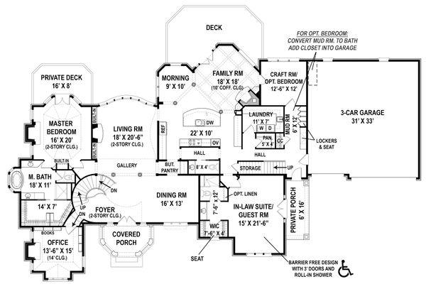 European Floor Plan - Main Floor Plan Plan #119-429