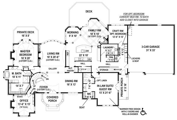 Home Plan - European Floor Plan - Main Floor Plan #119-429