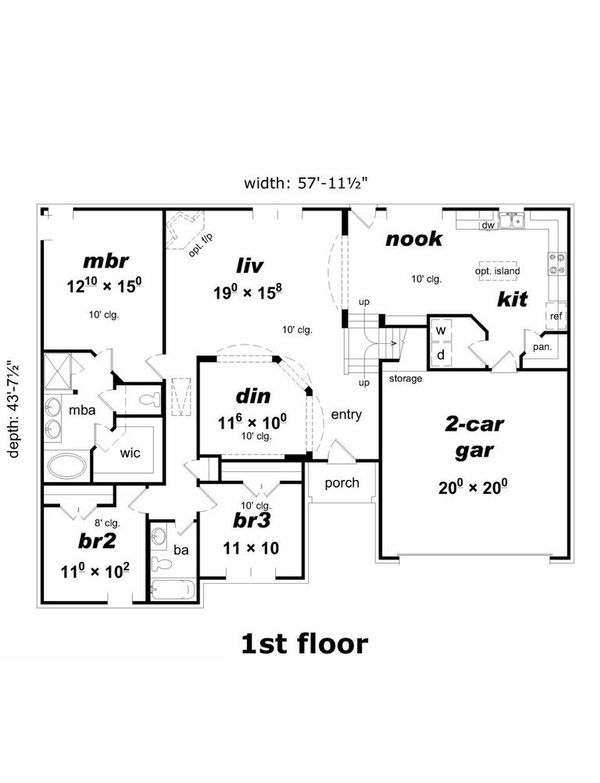 House Plan - 4 Beds 3 Baths 2119 Sq/Ft Plan #329-336 Floor Plan - Main Floor Plan