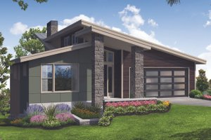 Home Plan - Contemporary Exterior - Front Elevation Plan #124-1116