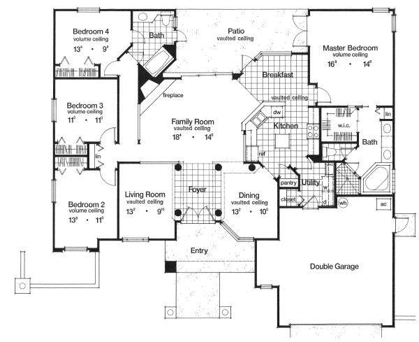 Mediterranean Floor Plan - Main Floor Plan Plan #417-187