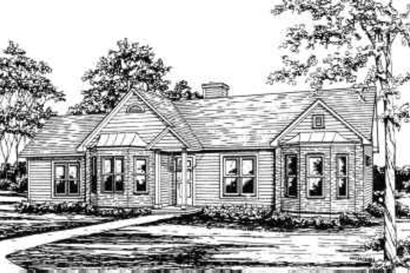 Traditional Style House Plan - 3 Beds 2 Baths 1256 Sq/Ft Plan #30-122 Exterior - Front Elevation