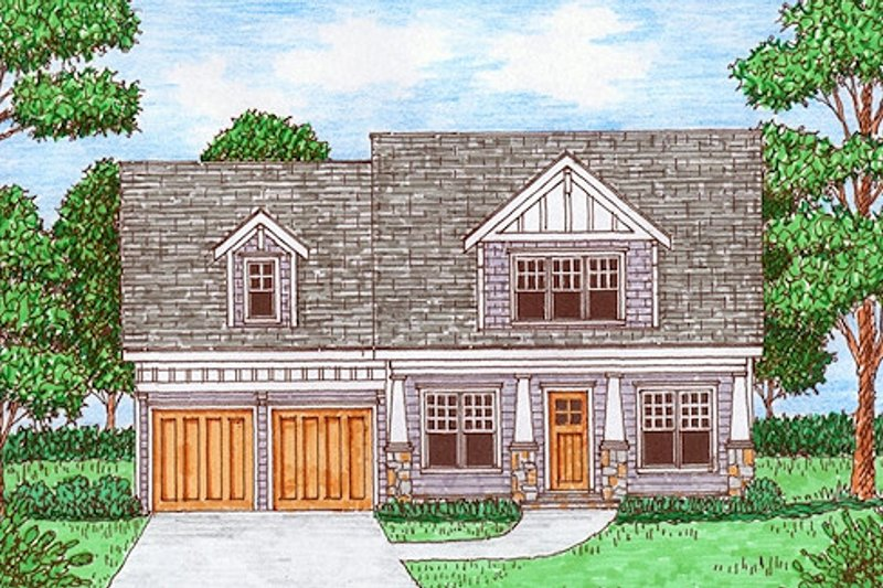 Bungalow Exterior - Front Elevation Plan #413-880