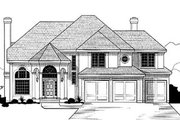 European Style House Plan - 4 Beds 3.5 Baths 3211 Sq/Ft Plan #67-130 Exterior - Front Elevation