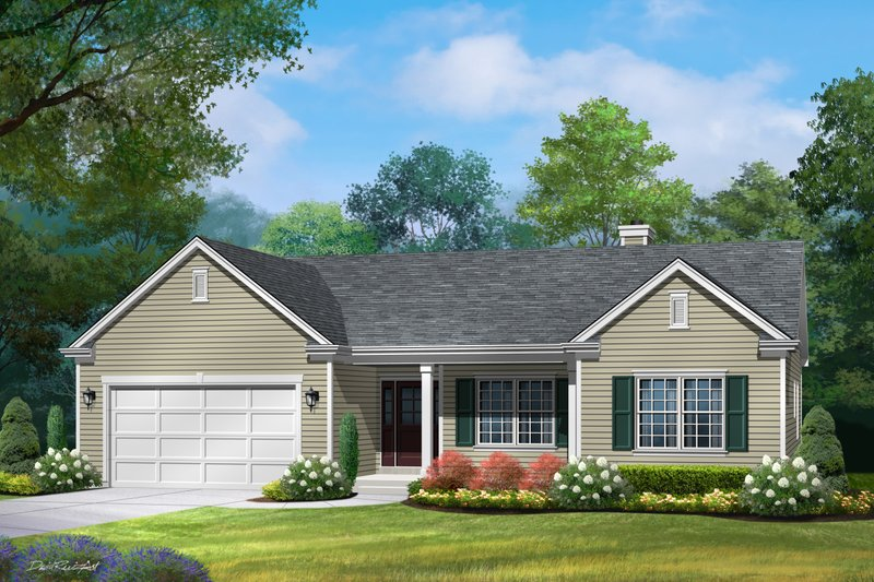 Ranch Exterior - Front Elevation Plan #22-581
