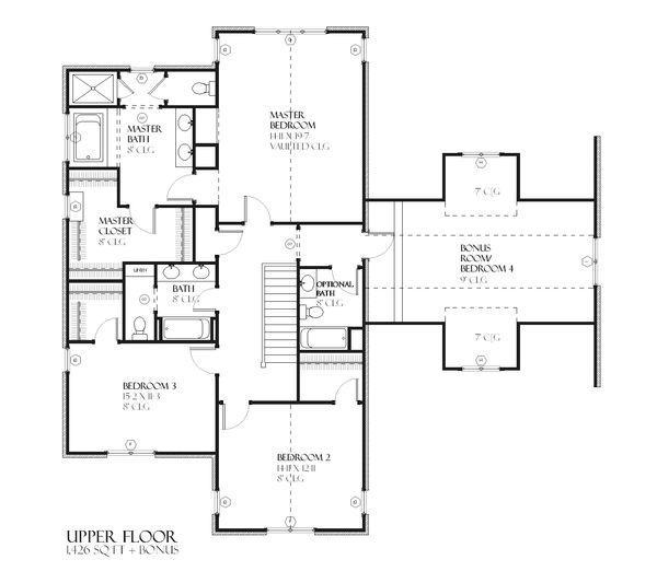 Traditional Floor Plan - Upper Floor Plan #901-50