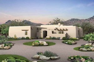 Adobe / Southwestern Exterior - Front Elevation Plan #72-119