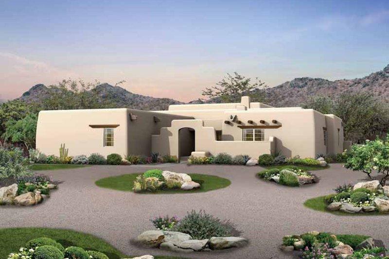 Architectural House Design - Adobe / Southwestern Exterior - Front Elevation Plan #72-119