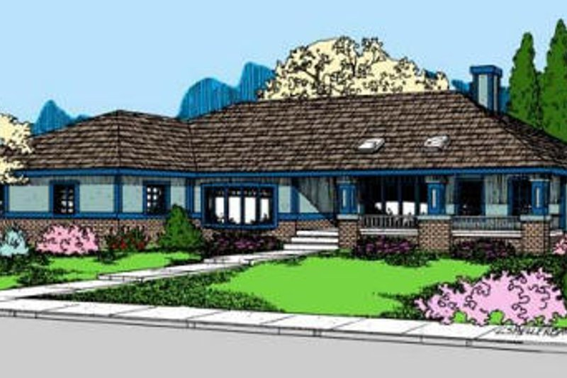 Ranch Style House Plan - 3 Beds 2.5 Baths 2277 Sq/Ft Plan #60-584 Exterior - Front Elevation