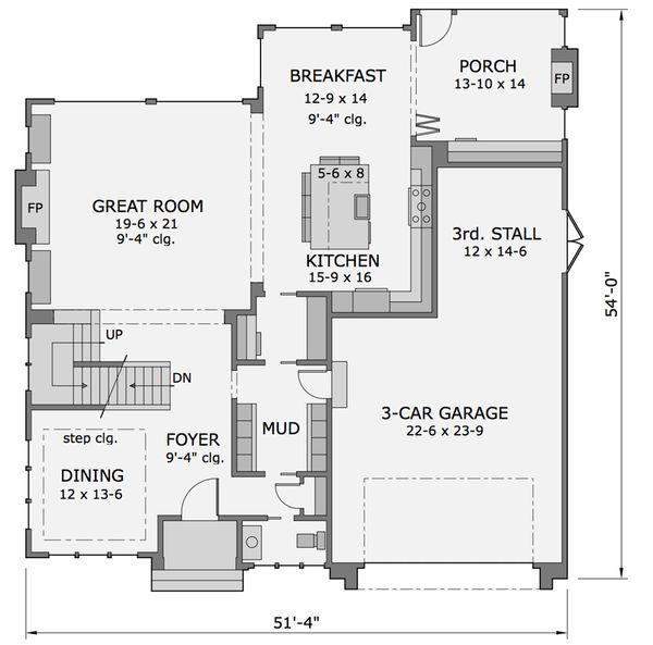 Craftsman Floor Plan - Main Floor Plan Plan #51-565