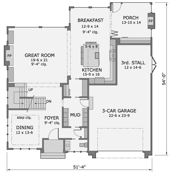 Craftsman Floor Plan - Main Floor Plan Plan #51-565