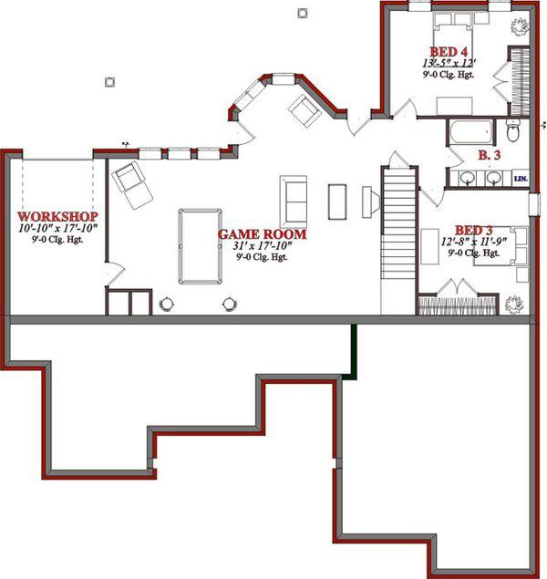 Traditional Floor Plan - Lower Floor Plan Plan #63-193