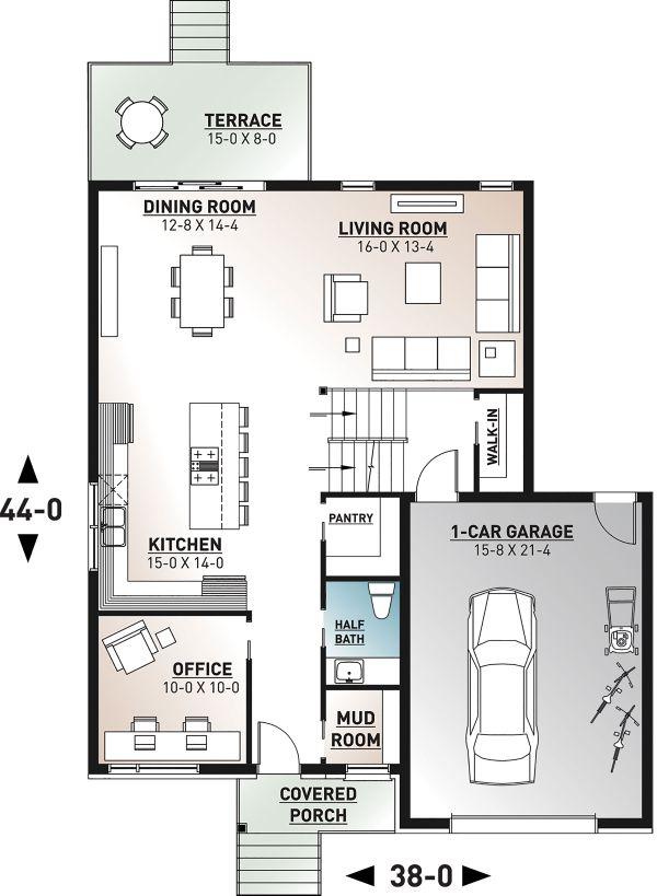 Home Plan - Contemporary Floor Plan - Main Floor Plan #23-2706