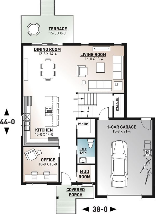 Contemporary Floor Plan - Main Floor Plan Plan #23-2706