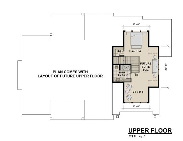 Contemporary Style House Plan - 3 Beds 2.5 Baths 2358 Sq/Ft Plan #51-585 Floor Plan - Upper Floor Plan