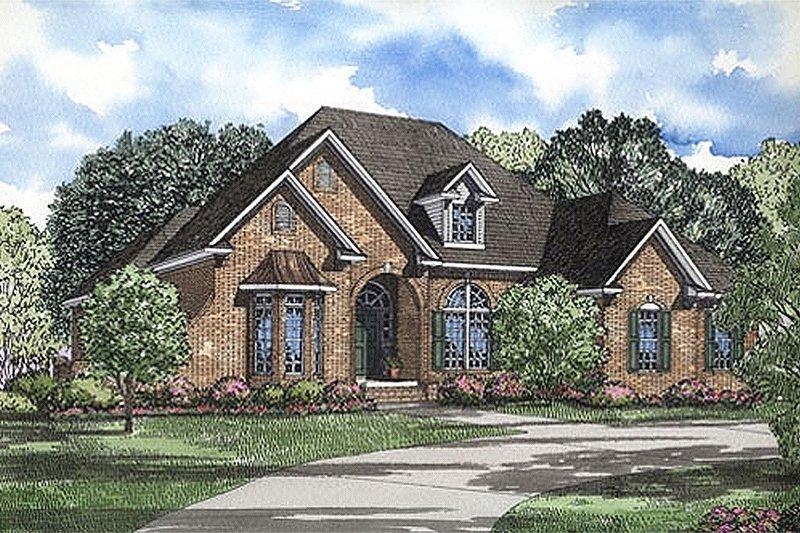 European Style House Plan - 4 Beds 2.5 Baths 2606 Sq/Ft Plan #17-1042