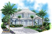 Beach Style House Plan - 5 Beds 4.5 Baths 7044 Sq/Ft Plan #27-525 Exterior - Front Elevation