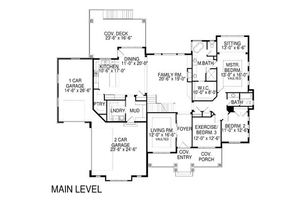 Craftsman Floor Plan - Main Floor Plan Plan #920-28