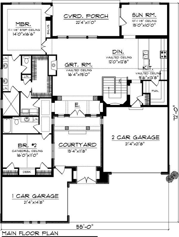 Tuscan house plan, European design, floor plan