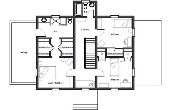 Colonial Floor Plan - Upper Floor Plan Plan #492-2