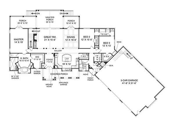Country Style House Plan - 3 Beds 2.5 Baths 2666 Sq/Ft Plan #119-365 Floor Plan - Main Floor Plan