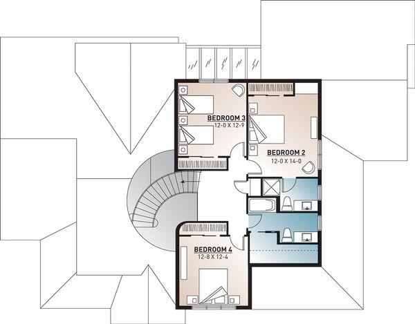 Traditional Floor Plan - Upper Floor Plan Plan #23-329