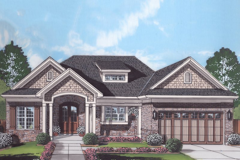 Ranch Style House Plan - 3 Beds 2 Baths 1955 Sq/Ft Plan #46-888 Exterior - Front Elevation