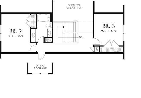 Craftsman Floor Plan - Upper Floor Plan Plan #48-553
