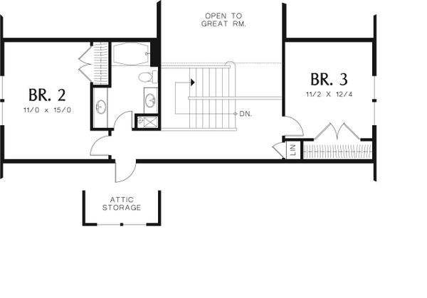Craftsman Floor Plan - Upper Floor Plan Plan #48-553