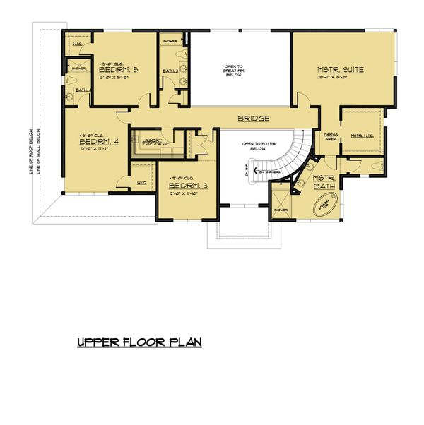 Traditional Floor Plan - Upper Floor Plan Plan #1066-60