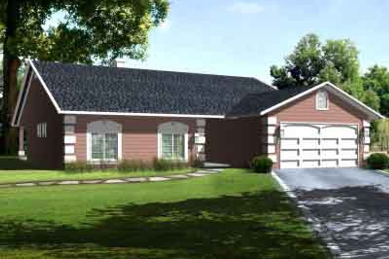 Traditional Style House Plan - 3 Beds 2 Baths 1544 Sq/Ft Plan #1-1283 Exterior - Front Elevation