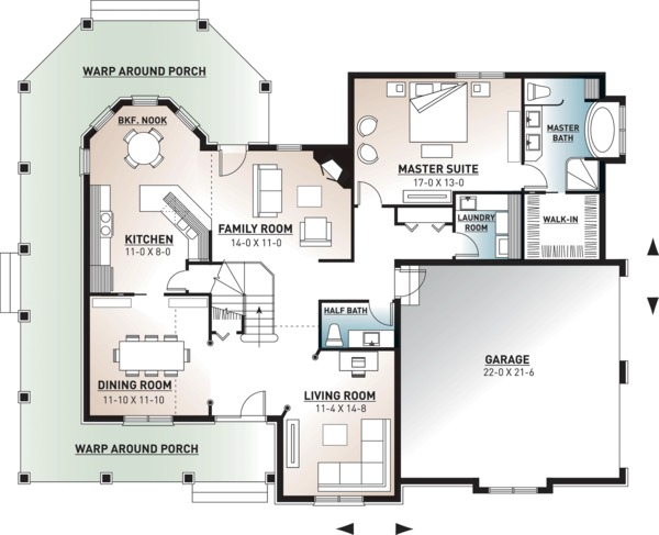 Country Floor Plan - Main Floor Plan Plan #23-2131