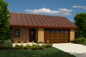 Cabin Exterior - Front Elevation Plan #118-137