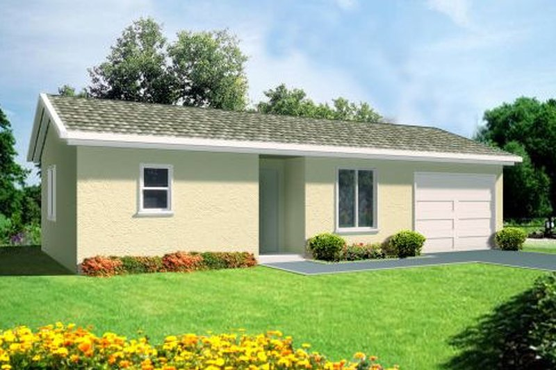 Traditional Style House Plan - 1 Beds 1 Baths 527 Sq/Ft Plan #1-217 Exterior - Front Elevation
